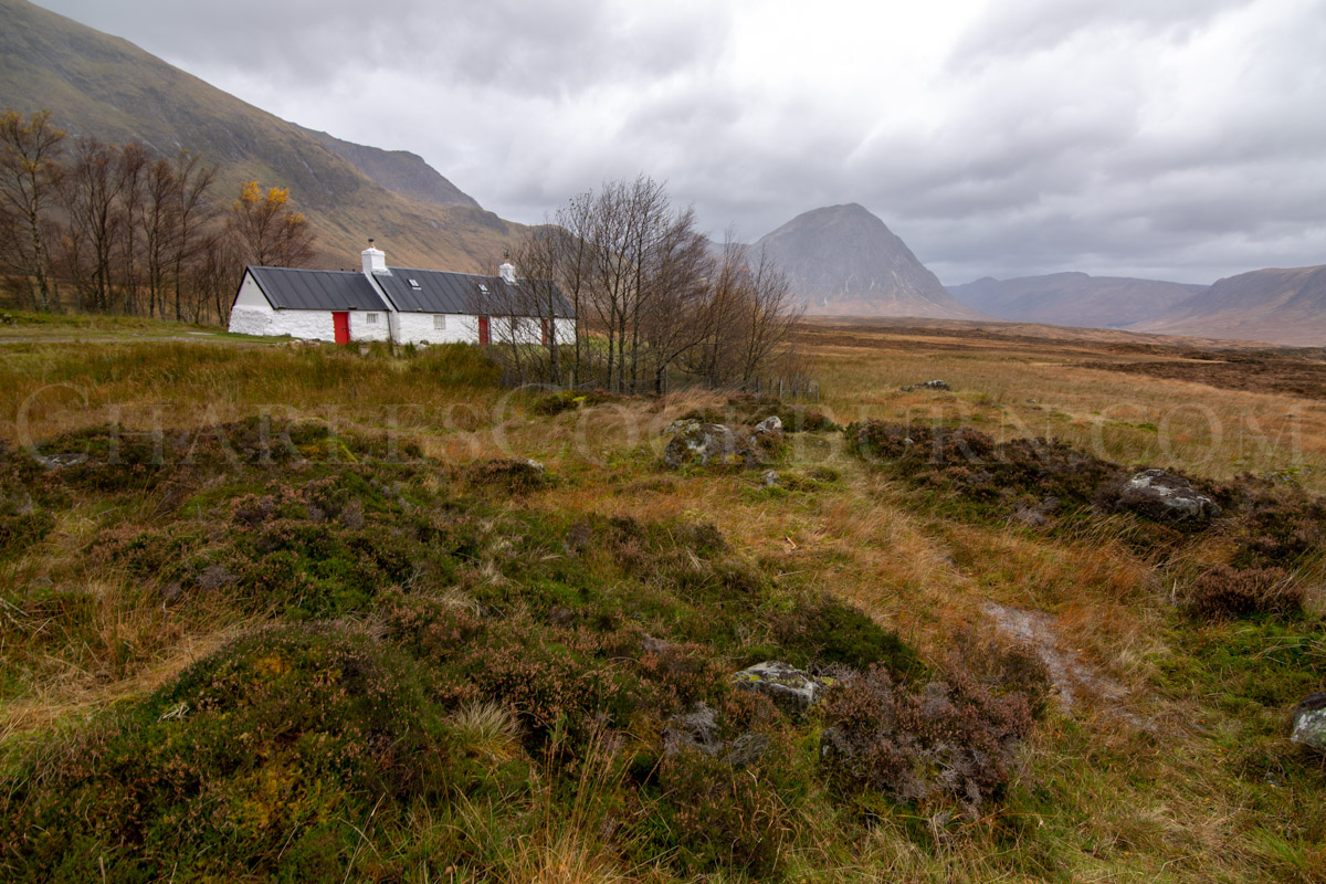 The iconic Blackrock Cottage sits at the entrance to Glen Coe in the Scottish Highlands.