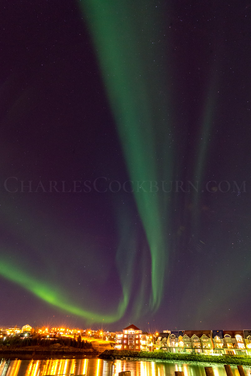 The Aurora Borealis sweeps in a curving dance above the lights of Reykjavík in Iceland.