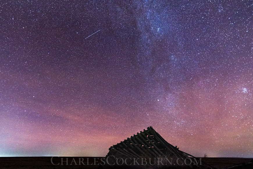 The Milky Way shines over an abandoned building near Waterville at CharlesCockburn.com